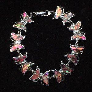 Vintage abalone butterfly bracelet
